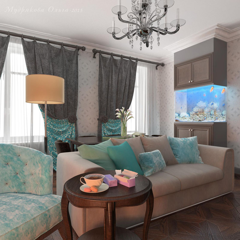 Дизайн аквариума в гостиной