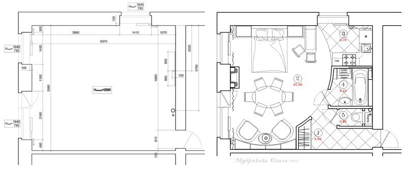План расстановки мебели в студии