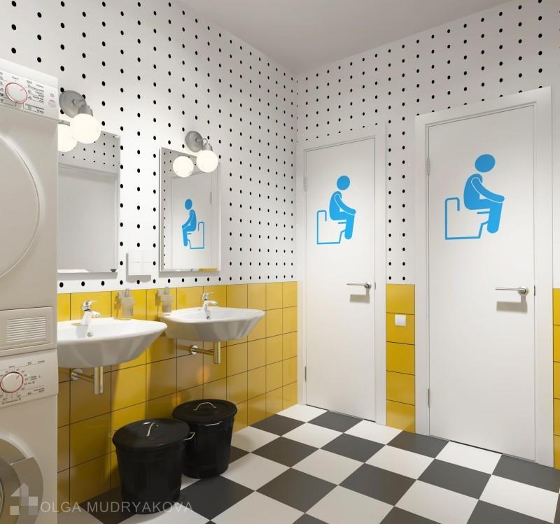 Дизайн санузла в хостеле