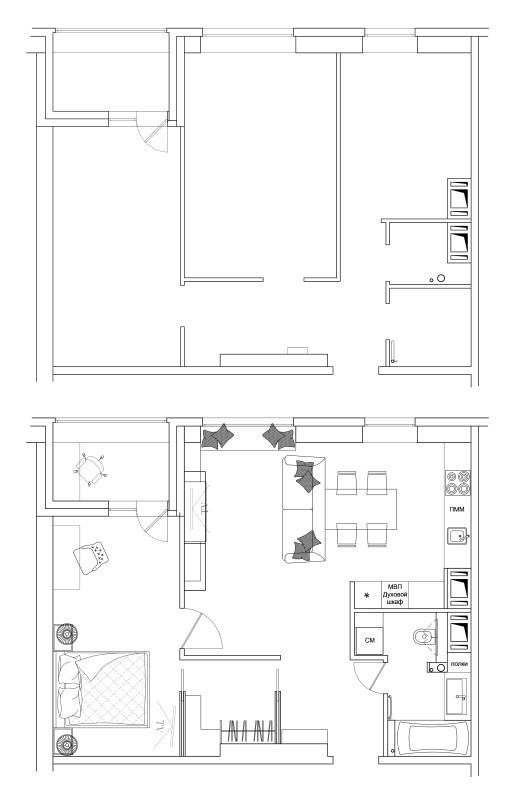 План расстановки мебели в двухкомнатной