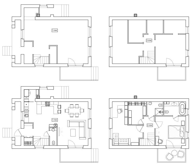 План расстановки мебели в коттедже