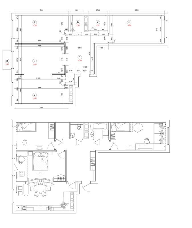 План расстановки мебели в трехкомнатной
