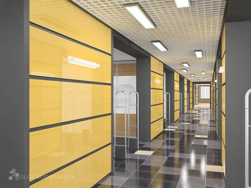 Дизайн коридора в торговом центре