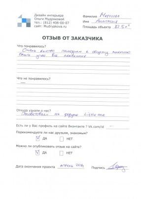 Отзыв о дизайне квартиры на Оптиков