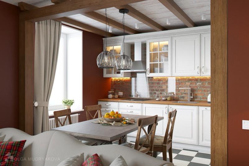 Дизайн кухня и кирпич