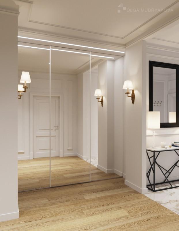 Расширение коридора зеркальными элементами