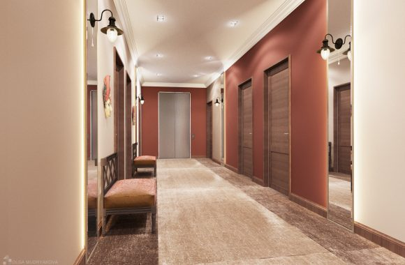 Дизайн коридора в гостинице