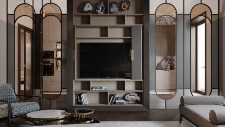Дизайн гостиной комнаты в ЖК Привилегия