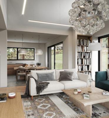 Дизайн интерьера кухни-гостиной в доме